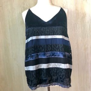 LOFT Velvet, Lace & Satin Striped Tank Size XL